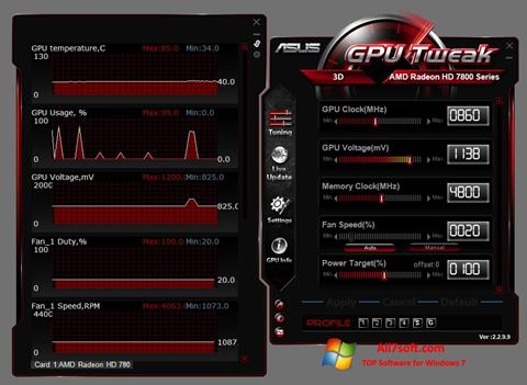 Képernyőkép ASUS GPU Tweak Windows 7