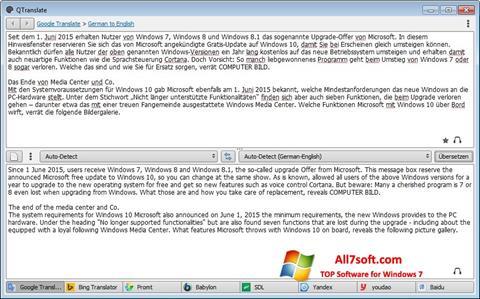 Képernyőkép QTranslate Windows 7
