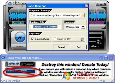 Képernyőkép iRinger Windows 7