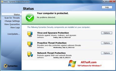 Képernyőkép Symantec Endpoint Protection Windows 7