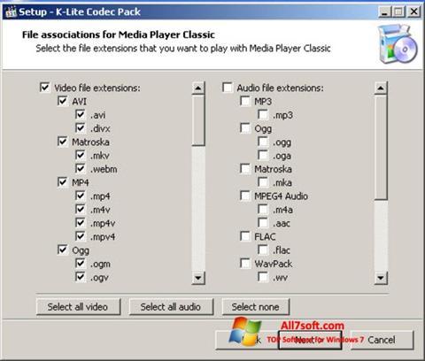 Képernyőkép K-Lite Codec Pack Windows 7