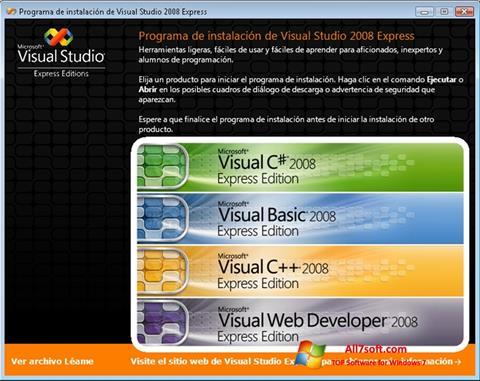 Képernyőkép Microsoft Visual Studio Windows 7