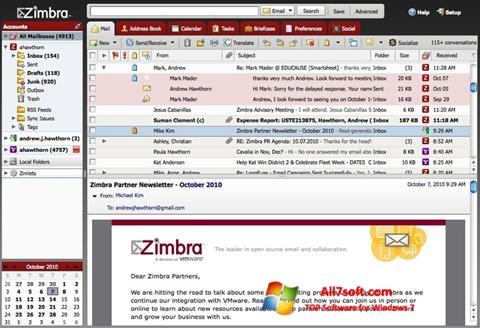 Képernyőkép Zimbra Desktop Windows 7