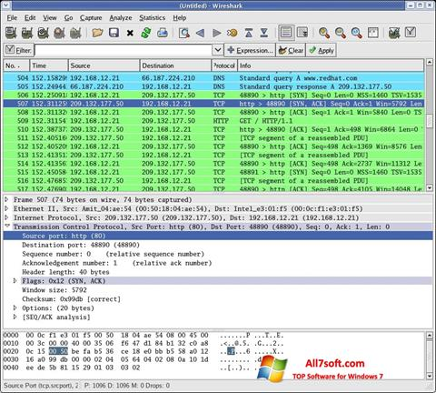 Képernyőkép Wireshark Windows 7