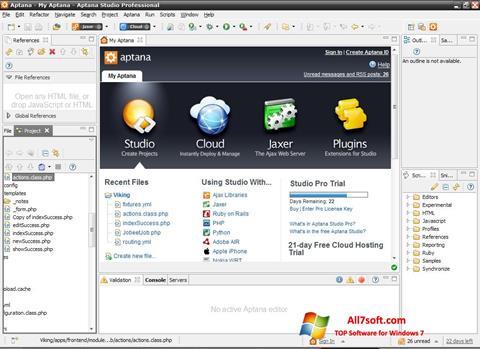 Képernyőkép Aptana Studio Windows 7