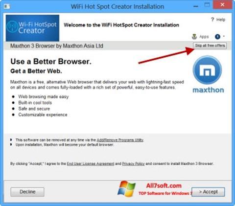 Képernyőkép Wi-Fi HotSpot Creator Windows 7