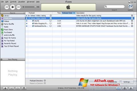 Képernyőkép iTunes Windows 7