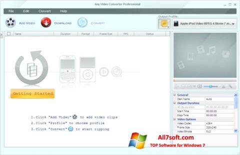 Képernyőkép Any Video Converter Windows 7