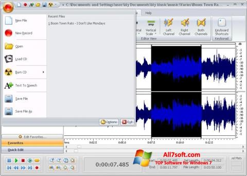 Képernyőkép Free Audio Editor Windows 7