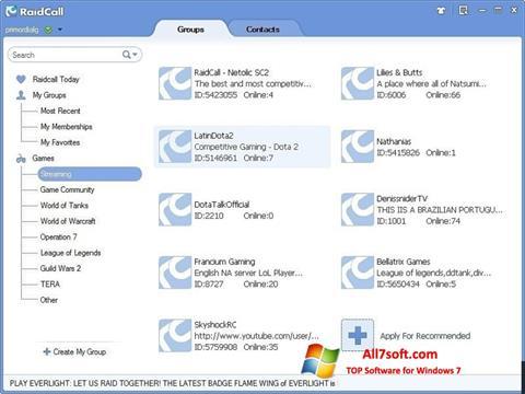 Képernyőkép RaidCall Windows 7