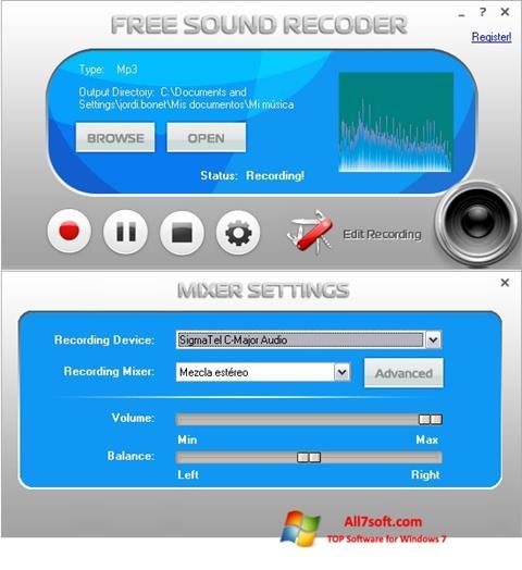 Képernyőkép Free Sound Recorder Windows 7