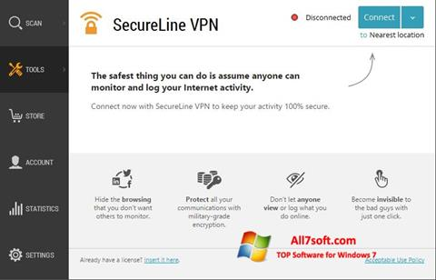Képernyőkép Avast SecureLine VPN Windows 7