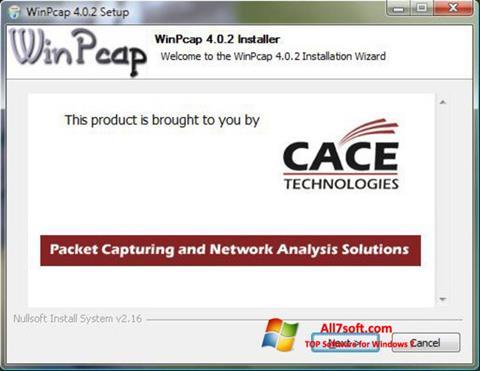 Képernyőkép WinPcap Windows 7