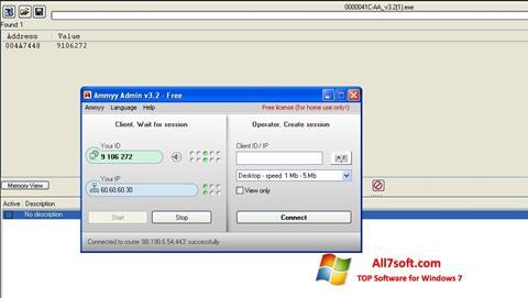 Képernyőkép Ammyy Admin Windows 7