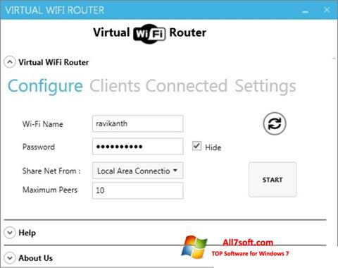Képernyőkép Virtual WiFi Router Windows 7