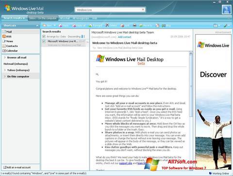 Képernyőkép Windows Live Mail Windows 7