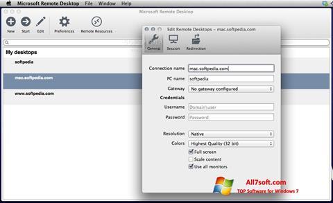 Képernyőkép Microsoft Remote Desktop Windows 7