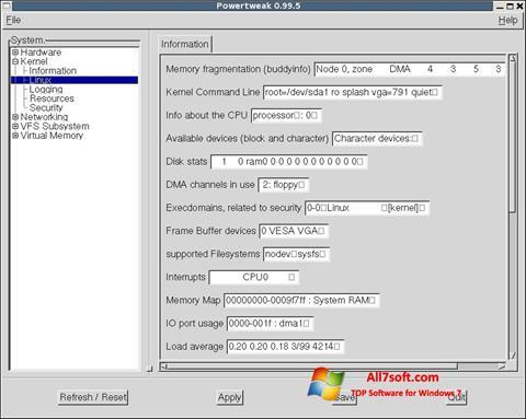 Képernyőkép PowerTweak Windows 7
