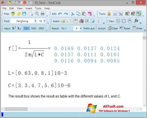 Képernyőkép RedCrab Calculator Windows 7