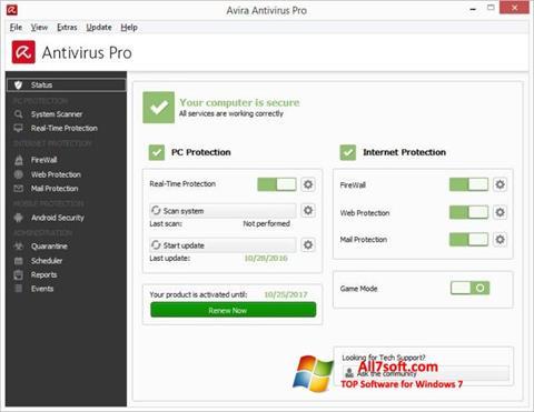 Képernyőkép Avira Antivirus Windows 7