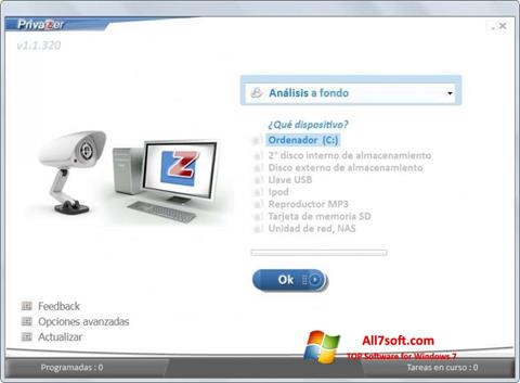 Képernyőkép PrivaZer Windows 7