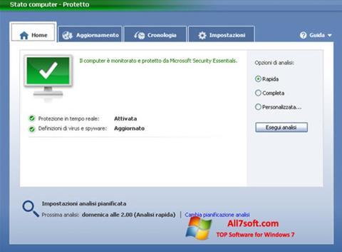 Képernyőkép Microsoft Security Essentials Windows 7