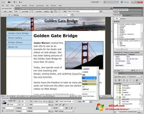 Képernyőkép Adobe Dreamweaver Windows 7