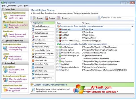 Képernyőkép Reg Organizer Windows 7