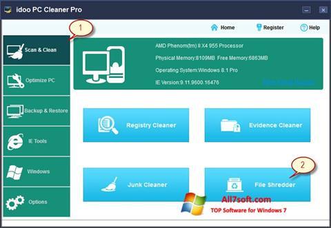 Képernyőkép PC Cleaner Windows 7