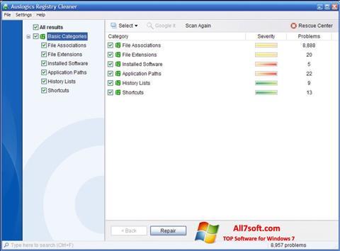 Képernyőkép Auslogics Registry Cleaner Windows 7