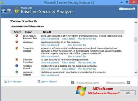 Képernyőkép Microsoft Baseline Security Analyzer Windows 7