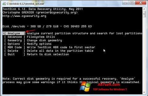 Képernyőkép TestDisk Windows 7