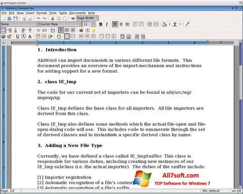 Képernyőkép AbiWord Windows 7