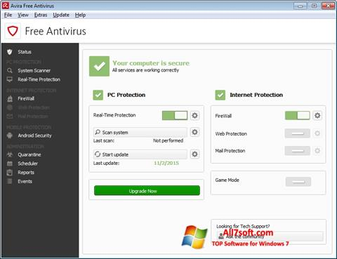 Képernyőkép Avira Free Antivirus Windows 7