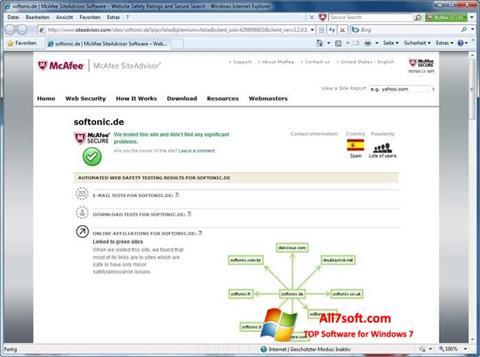 Képernyőkép McAfee SiteAdvisor Windows 7