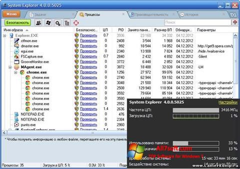 Képernyőkép System Explorer Windows 7