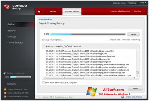 Képernyőkép Comodo BackUp Windows 7