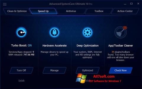 Képernyőkép Advanced SystemCare Ultimate Windows 7