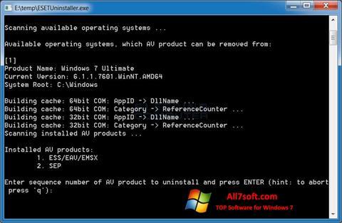 Képernyőkép ESET Uninstaller Windows 7