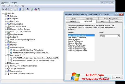 Képernyőkép REALTEK RTL8139 Windows 7