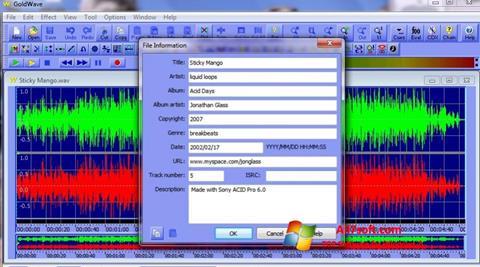 Képernyőkép GoldWave Windows 7