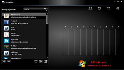 Képernyőkép HP SimplePass Windows 7