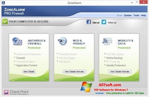 Képernyőkép ZoneAlarm Pro Windows 7
