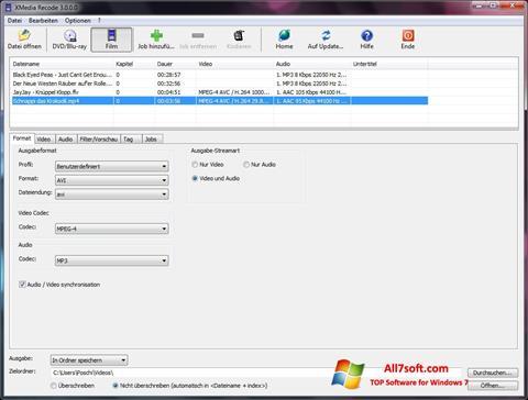 Képernyőkép XMedia Recode Windows 7