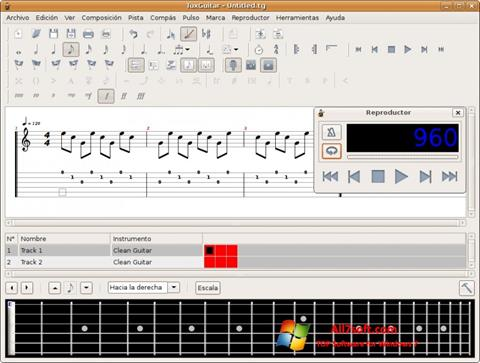 Képernyőkép TuxGuitar Windows 7