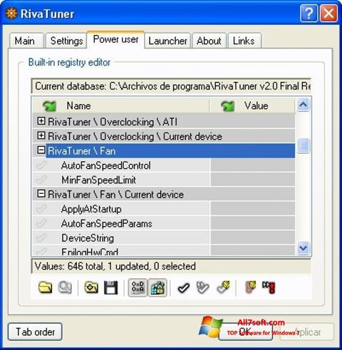 Képernyőkép RivaTuner Windows 7