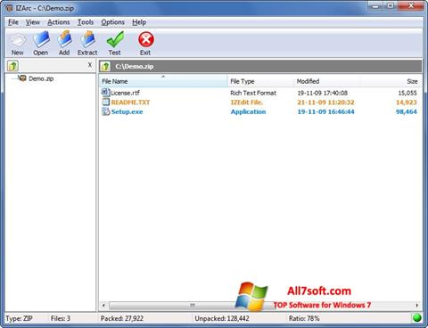 Képernyőkép IZArc Windows 7