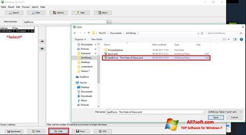 Képernyőkép ArtMoney Windows 7