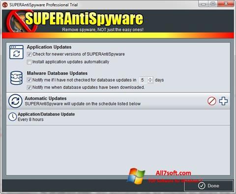 Képernyőkép SUPERAntiSpyware Windows 7
