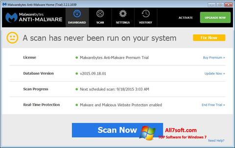Képernyőkép Malwarebytes Anti-Malware Free Windows 7